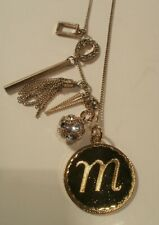 Vintage Gold Tone Letter M Pendent Necklace With Rhinestone & Tassel Charm