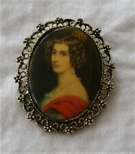 Vintage~Cameo~Painted Portrait~Victorian Girl~Pendant~Brooch~Pin