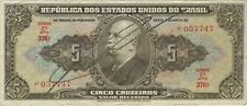 1950 5 CRUZEIROS BRAZIL BRAZILIAN CURRENCY BANKNOTE NOTE MONEY BANK BILL CASH