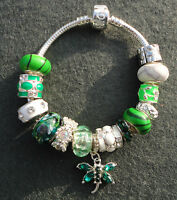 Green White Silver Dragonfly Butterfly Rhinestone European Dangle Charm Bracelet