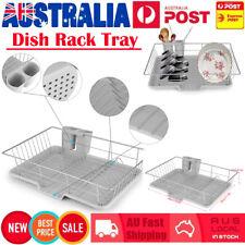 Kitchen Sink Dish Drainer Strainer Drying Rack Cups Plates Utensils Holder Tray