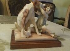VINTAGE G. ARMANI CHILD AND DOG SCULPTURE FIGURINE MADE IN ITALY