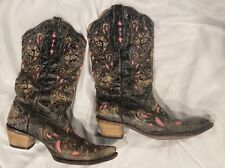 Women's Black And Pink Corral Size 11 Cowboy Boots