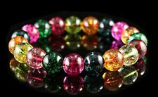 "8mm Colorful Watermelon Tourmaline Crystal Round Stretchy Bracelet 7.5"""""