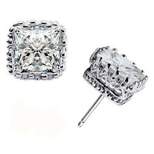 Pretty New White Gold Silver Plated Square Crown Set Clear CZ Stud Earrings