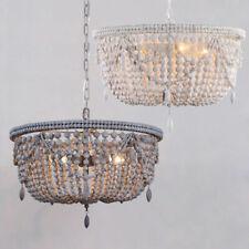 Wood Beaded Basket Pendant Lighting Vintage Hanging Light Ceiling Chandeliers