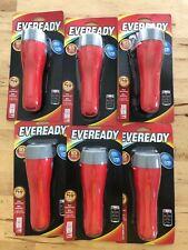 Lot of 6 Eveready EVGP25S Ergonomic Design LED 2D Flashlight Push Bottom Switch