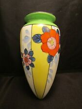 Vintage Wall Pocket Vase Japan Flowers Yellow 8 inch