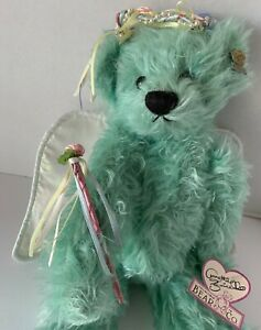 Lovely Annette Funicello Fairy Bear Seafoam Green Mohair Wings Wand Bead Halo