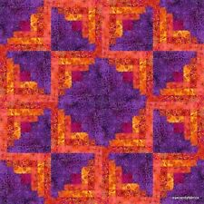 16 Block Batik Log Cabin Quilt Kit~Pre-Cut WILD WAVES  Set A by eyecandyfabrics