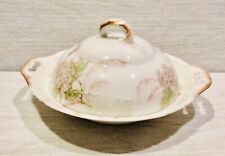 Theo Haviland, Limoges, France,  Set 3 Piece Butter Dish, Green Flowers