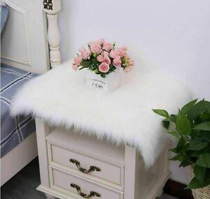 Fluffy Soft Faux Fur White Sheepskin Chair Cover Seat Cushion Pad Mat Carpet Rug