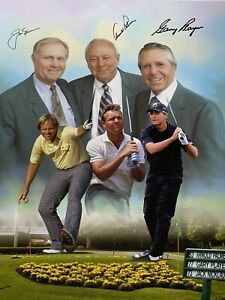 ARNOLD PALMER JACK NICKLAUS GARY PLAYER MASTERS signed AUGUSTA CANVAS PSA/DNA