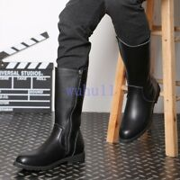 Men's Chic Solid Zipper Knee High Riding Boots Moccasin Combat Army Shoes
