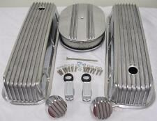 "Big Block Chevy Finned Valve Cover Kit w 12"" Air Cleaner & Breather PCV 454 502"