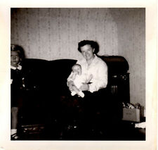 """1950's B&W Photograph 3 1/2"""" x 3 1/2"""" - Woman Holding Baby"""