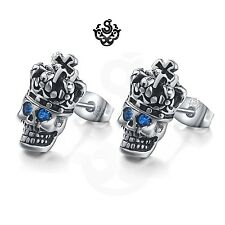 Silver studs blue crystal stainless steel king skull gothic earrings