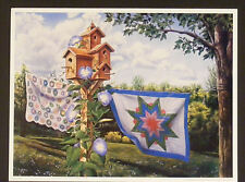 """""""SUMMER BREEZE"""" by Doug Knutson PRINT Country Birdhouse quilts clothesline 18x24"""