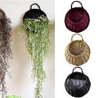 1Pc Storage Baskets Wall Hanging Wicker Rattan Xmas Durable Garden Home Decor