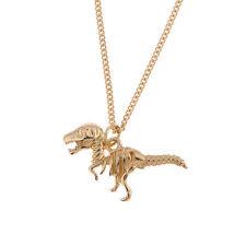 Vintage goth style gold coloured dinosaur skeleton raptor charm necklace