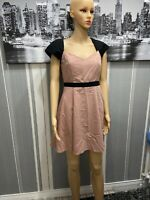 Women's Miss Selfridge Black Sleeved Pink Dress Size 10 New Without Tags
