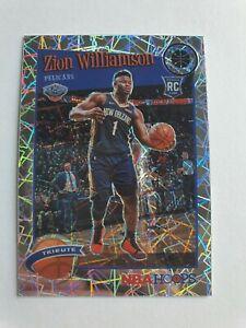 2019-20 NBA Hoops Premium Zion Williamson Rookie Tribute Silver Laser Prizm