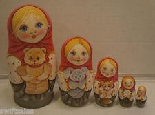 Russian Matryoshka - Wooden Nesting Dolls - 5 Pieces Unique Coloring - Set #7