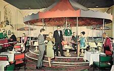 BOSTON , Massachusetts MA  MERRY GO ROUND Sheraton Plaza ca 1950's Postcard