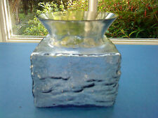superb vintage Frank Thrower Dartington art glass Bark vase in pewter grey