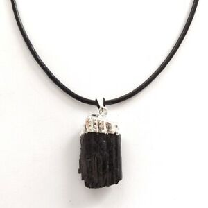 RAW TOURMALINE PENDANT NECKLACE UNCUT MADE TO MEASURE LENGTH, SILVER PLATED.