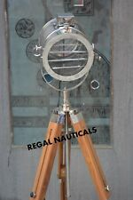 New Large Theater Nickel Floor Searchlight And Teak Wood Tripod Stand Spot Light