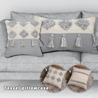 Boho Cotton Linen Pillowcase Embroidery Tufted Tassels Decorative Cushion Covers