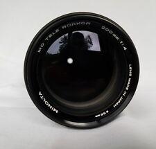 MINOLTA 200mm 1:4 MD TELE ROKKOR Prime Telephoto Lens in Pristine Condition