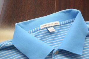 Peter Millar Golf Polo Striped Short Sleeve Athletic Golf Shirt Mens Size Large