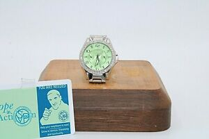 Fossil Mens Watch ES3725 - Lime Green Face / Water Resistant + Rhinestones