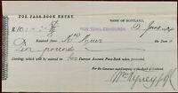 Bank of Scotland, New Town, Edinburgh Receipt 2nd June 1904