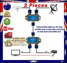 2x Satellite/TV Signal Diplexer/Combiner//Mixer- TV Antenna + Satellite TV C/Ku