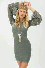 NEW Free People Lovely in Lace Bodycon Mini Dress in Slate Women's Small