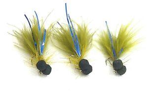 3 Blue Flash DAMSEL BOOBY Flies Foam BOOBIES Trout Fly Fishing Size 10,12,14