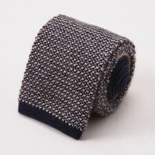 NWT $295 ERMENEGILDO ZEGNA 'Duo' Reversible Beige-Navy Knit Cashmere Tie