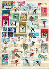 TIMBRES   lot de+ 40 timbres oblitérés thème j o hiver
