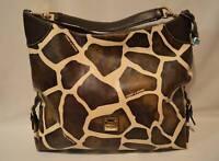 Dooney & Bourke Giraffe Print Leather Large Hobo Shoulder Bag Purse