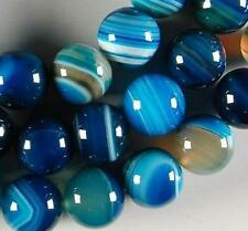 10mm blau gestreiften Achat Achat Edelstein runde lose Perlen 37cm