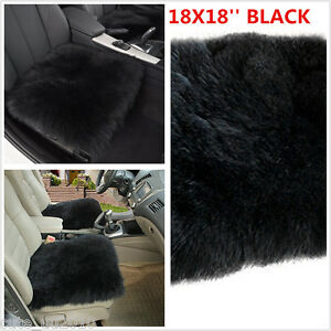 "18"" x 18"" BLACK Genuine Sheepskin Long Wool Car Seat Breathable Warm Soft Covers"