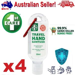 4 x Kids Adult Travel Hand Sanitizer Gel Kills 99.9% Germs Portable