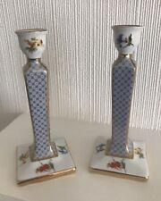 Pair Of Late Vintage Porcelain Gilt, Blue & Floral Past Times Candlesticks