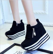 Women Platform High Wedge Heel SNEAKERS Trainers Ahtletic Sport ZIPPER Shoes Uk4-us6-eu37 Black