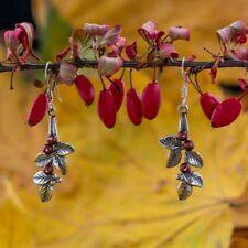 Cranberries Floral Earrings Sterling Silver Swarovski Beads Charm Czech Bohemian
