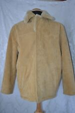 Robert Comstock Expedition Mens Tan Suede Leather Faux Fur Jacket  Size M