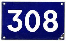 Old Australian used house number 308 door gate enamel metal sign in French blue